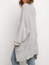 Gorgeous Solid Color Open Front Knitwears With Long Baggy Sleeves-Grey 2