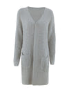 Gorgeous Solid Color Open Front Knitwears With Long Baggy Sleeves-Grey 3