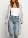 Gorgeous Solid Color Open Front Knitwears With Long Baggy Sleeves-Grey 1