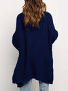 Gorgeous Solid Color Open Front Knitwears With Long Baggy Sleeves-Navy Blue 2