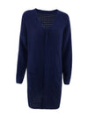 Gorgeous Solid Color Open Front Knitwears With Long Baggy Sleeves-Navy Blue 3