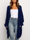 Gorgeous Solid Color Open Front Knitwears With Long Baggy Sleeves-Navy Blue 1