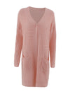 Gorgeous Solid Color Open Front Knitwears With Long Baggy Sleeves-Pink 3