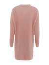 Gorgeous Solid Color Open Front Knitwears With Long Baggy Sleeves-Pink 4