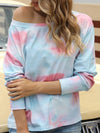 Cool Boat Necklinetie-Dye Shirts With Long Sleeves-Sky Blue 1