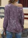 Cool Boat Necklinetie-Dye Shirts With Long Sleeves-Brown 2