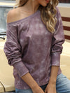 Cool Boat Necklinetie-Dye Shirts With Long Sleeves-Brown 1