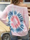 Cool Boat Necklinetie-Dye Shirts With Long Sleeves-Pink 2