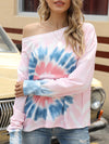 Cool Boat Necklinetie-Dye Shirts With Long Sleeves-Pink 1