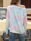 Cool Boat Necklinetie-Dye Shirts With Long Sleeves-Yellow 2