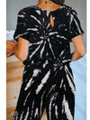 Classy Short Sleeves & Sweatpants Tie-Dye Pajamas Sets Wholesale-Black 2