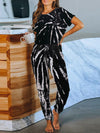 Classy Short Sleeves & Sweatpants Tie-Dye Pajamas Sets Wholesale-Black 1