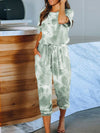 Classy Short Sleeves & Sweatpants Tie-Dye Pajamas Sets Wholesale-Green 2