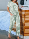 Classy Short Sleeves & Sweatpants Tie-Dye Pajamas Sets Wholesale-Green 3