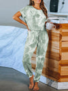 Classy Short Sleeves & Sweatpants Tie-Dye Pajamas Sets Wholesale-Green 1