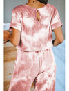 Classy Short Sleeves & Sweatpants Tie-Dye Pajamas Sets Wholesale-Red 2