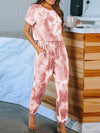 Classy Short Sleeves & Sweatpants Tie-Dye Pajamas Sets Wholesale-Red 3