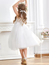 Sweet Knee-length Sleeveless Dress For Flower Girls-White 2