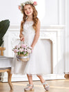 Sweet Knee-length Sleeveless Dress For Flower Girls-White 3