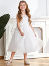 Sweet Knee-length Sleeveless Dress For Flower Girls-White 4
