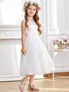 Sweet Knee-length Sleeveless Dress For Flower Girls-White 1