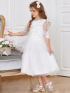 Elegant Tea Length  A-Line Dresse Round Neckline Flower Girl Dresses - White 4