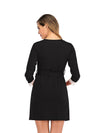 Women's Lace Patchwork Maternity Nursing Dresses-Black 2