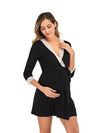 Women's Lace Patchwork Maternity Nursing Dresses-Black 3