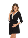 Women's Lace Patchwork Maternity Nursing Dresses-Black 4