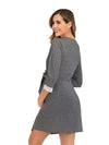 Women's Lace Patchwork Maternity Nursing Dresses-Deep Grey 3