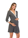 Women's Lace Patchwork Maternity Nursing Dresses-Deep Grey 4