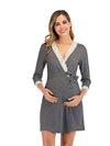 Women's Lace Patchwork Maternity Nursing Dresses-Deep Grey 1