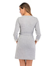 Women's Lace Patchwork Maternity Nursing Dresses-Grey 2
