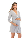 Women's Lace Patchwork Maternity Nursing Dresses-Grey 3