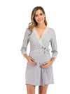 Women's Lace Patchwork Maternity Nursing Dresses-Grey 1
