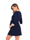 Women's Lace Patchwork Maternity Nursing Dresses-Navy Blue 2