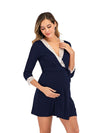 Women's Lace Patchwork Maternity Nursing Dresses-Navy Blue 3