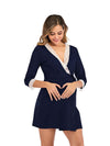 Women's Lace Patchwork Maternity Nursing Dresses-Navy Blue 4