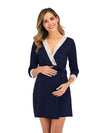 Women's Lace Patchwork Maternity Nursing Dresses-Navy Blue 1