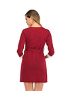 Women's Lace Patchwork Maternity Nursing Dresses-Red 2