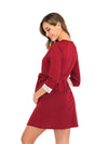 Women's Lace Patchwork Maternity Nursing Dresses-Red 3