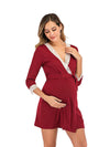 Women's Lace Patchwork Maternity Nursing Dresses-Red 4