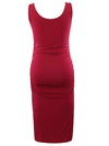 Fashion Solid Vest Sleeveless Bodycon Pregnant Dresses-Burgundy 2