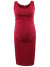 Fashion Solid Vest Sleeveless Bodycon Pregnant Dresses-Burgundy 1