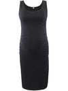 Fashion Solid Vest Sleeveless Bodycon Pregnant Dresses-Black 1