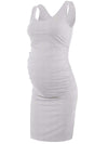 Fashion Solid Vest Sleeveless Bodycon Pregnant Dresses-Grey 3
