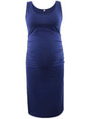 Fashion Solid Vest Sleeveless Bodycon Pregnant Dresses-Sapphire Blue 1