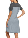 Wholesale Short Sleeve Maternity Casual Breastfeeding A-Line Dress-Grey 2