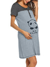 Wholesale Short Sleeve Maternity Casual Breastfeeding A-Line Dress-Grey 3