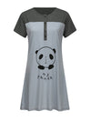 Wholesale Short Sleeve Maternity Casual Breastfeeding A-Line Dress-Grey 1